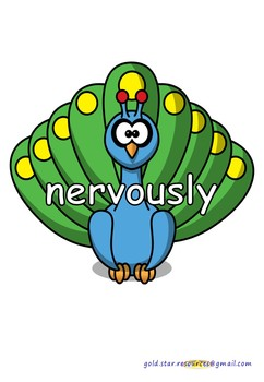 Adverbs on Peacocks for Display