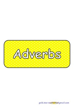 Adverbs on Yellow Polka Dots for Display