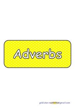 Adverbs on Yellow Polka Dots for Display