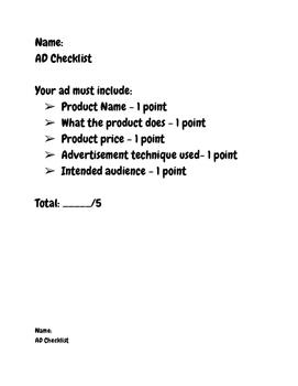 Advertisement Checklist/Rubric