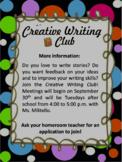 Creative Writing Club Docs & Flyers Bundle {editable}