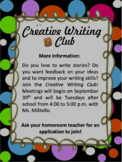 Creative Writing Club Docs & Flyers (editable)