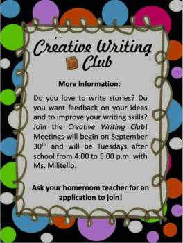 Creative Writing Club Docs & Flyers (editable)