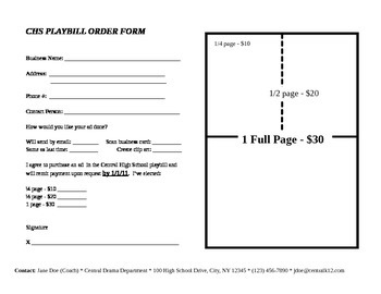 Advertisement Order Form