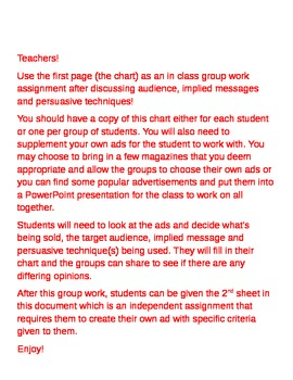 Advertisement and Persuasion Worksheet/Activity
