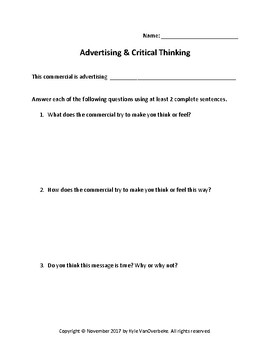 Advertising & Critical Thinking Worksheet