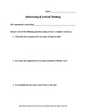 Advertising & Critical Thinking Worksheet