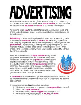 Advertising Lesson with Questions