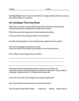 Advertising Planning Sheet