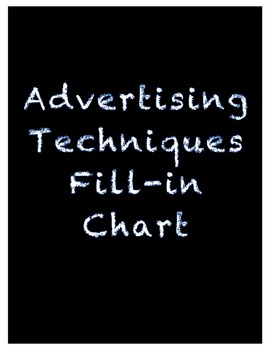 Advertising Techniques Fill-in Chart- Communications or Video Productions
