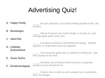 Advertising Techniques - examples for review and quiz