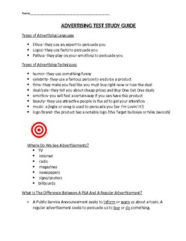 Advertising Test Study Guide