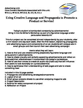 Advertising Unit: Creative Writing, Propaganda, Persuasion: FUN!