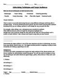 Advertising and Target Audience Analysis Workheet