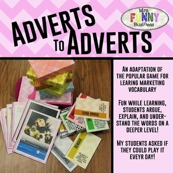 Adverts to Adverts Marketing Vocabulary Game