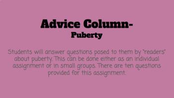 Puberty Advice Column