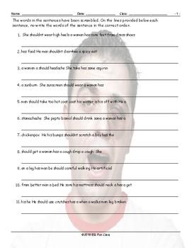 Advice Modal-Should Scrambled Sentences Worksheet