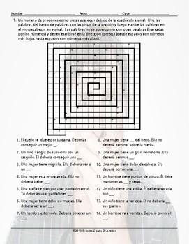 Advice Modals Word Spiral Spanish Worksheet