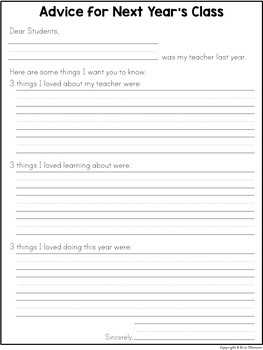 Advice for Next Year's Class ~ Writing Prompt