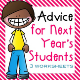 End of the Year Activities Students give Advice for next year's class