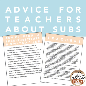 Advice for Teachers about Subs