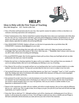 Advice for the 1st Year of Teaching