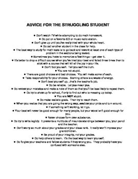 Advice for the Struggling Student