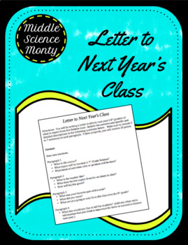 End of the Year advice for the next year's students (Letter Form)