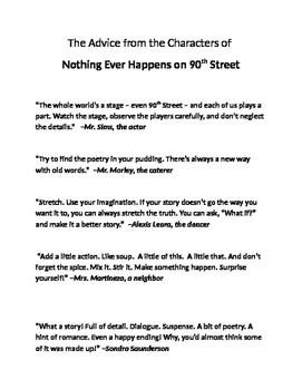 Advice from the book Nothing Ever Happens on 90th Street