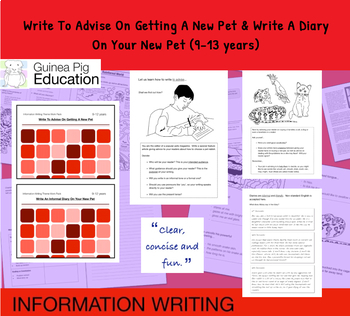 Advise And Write A Diary On Your New Pet (Information Writing Pack) 9-14