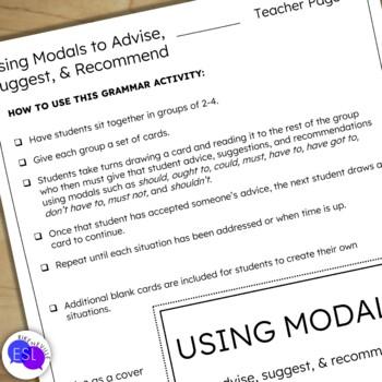 Modals Grammar Activity