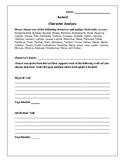 Aeneid Character Analysis Activity - Virgil