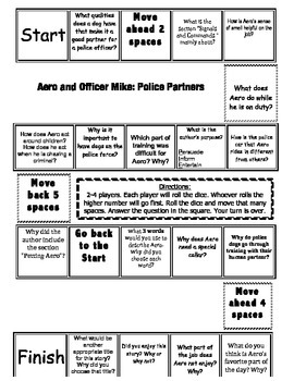 """""""Aero and Officer Mike"""" Comprehension Game Board- Journeys story 3rd grade"""