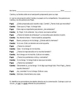 Aeropuerto direct objects dialogue Avancemos 2 Unidad 1 Leccion 1 (CI)