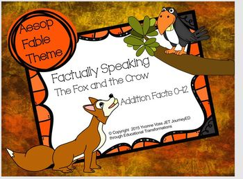 Aesop Fable Themed Addition Fact Cards 0-12 Bundle