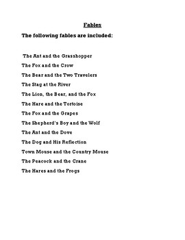 Aesop Fables: Using Fables to Increase Student Comprehension