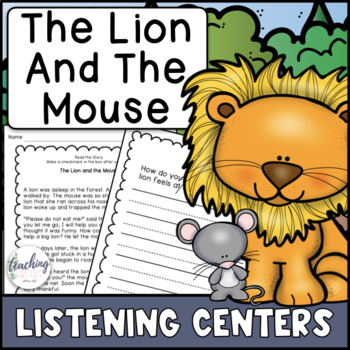 Aesop's Fable Reading Comprehension Center - The Lion and the Mouse