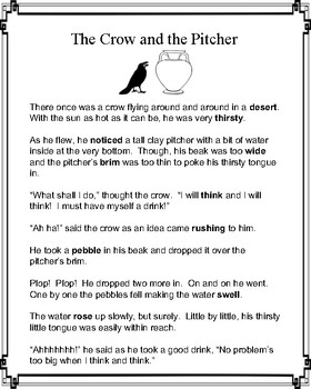 Aesop's Fable: The Crow and the Pitcher