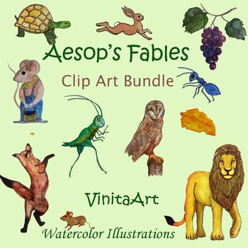 Aesop's Fables Bundle of Watercolor clip art Illustrations