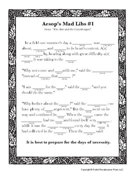 image about Printable Fables known as Aesops Fables Outrageous Libs Worksheets