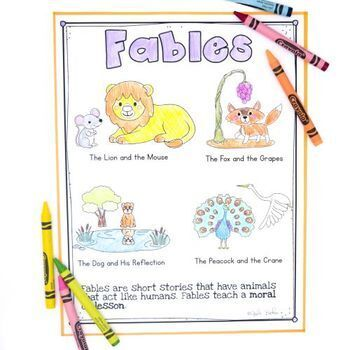 Aesop's Fables Passages and Comprehension Questions- RL.2.2 & RL.3.2