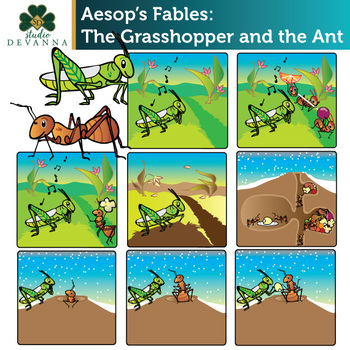 photograph about The Ant and the Grasshopper Story Printable named Aesops Fables - The Grhopper and the Ant