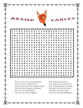 Aesop's Fables - FUN Morning Word Search & Writing Prompt & Bookmatk