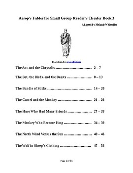Aesop's Fables for Small Group Reader's Theater Book 3