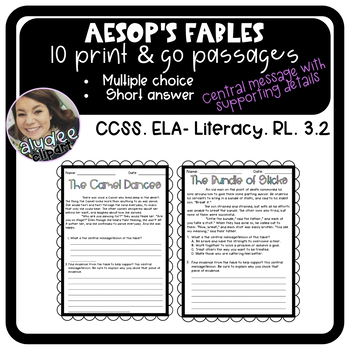 Aesop's Fables with Central Message and Supporting Details