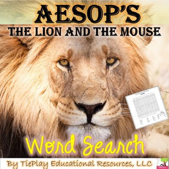 Aesop's The Lion and the Mouse Short Story Fable Word Search and Key