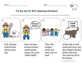 The Boy Who Cried Wolf and The Ant and the Grasshopper Aesop's Fable Activities
