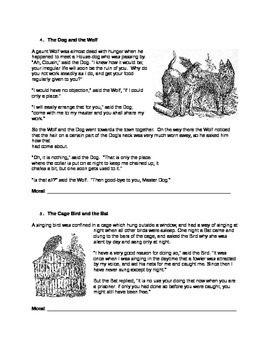 Aesop's Fables Worksheet