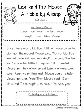 Aesop's Fables: CCSS Aligned Leveled Reading Passages and Activities *BUNDLE*