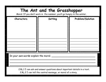 Aesop's Fables Graphic Organizers #2